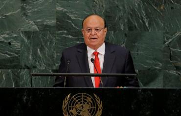 """هادي: يجب على الأمم المتحدة الضغط على """"الانقلابيين"""" لتنفيذ قرار مجلس الأمن"""