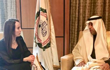 رئيس البرلمان العربى يطلع جابريلا بارون على الرؤية العربية من أزمات المنطقة
